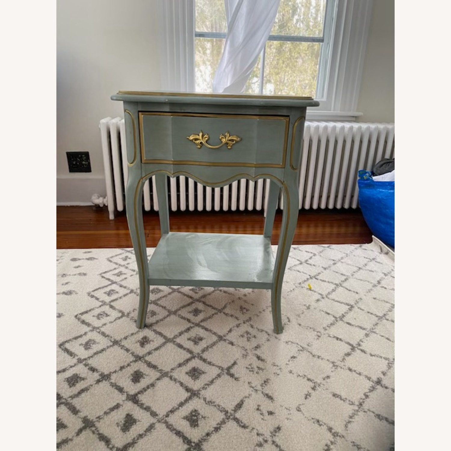 Vintage Blue Nightstand/table with Gold Accents - image-1