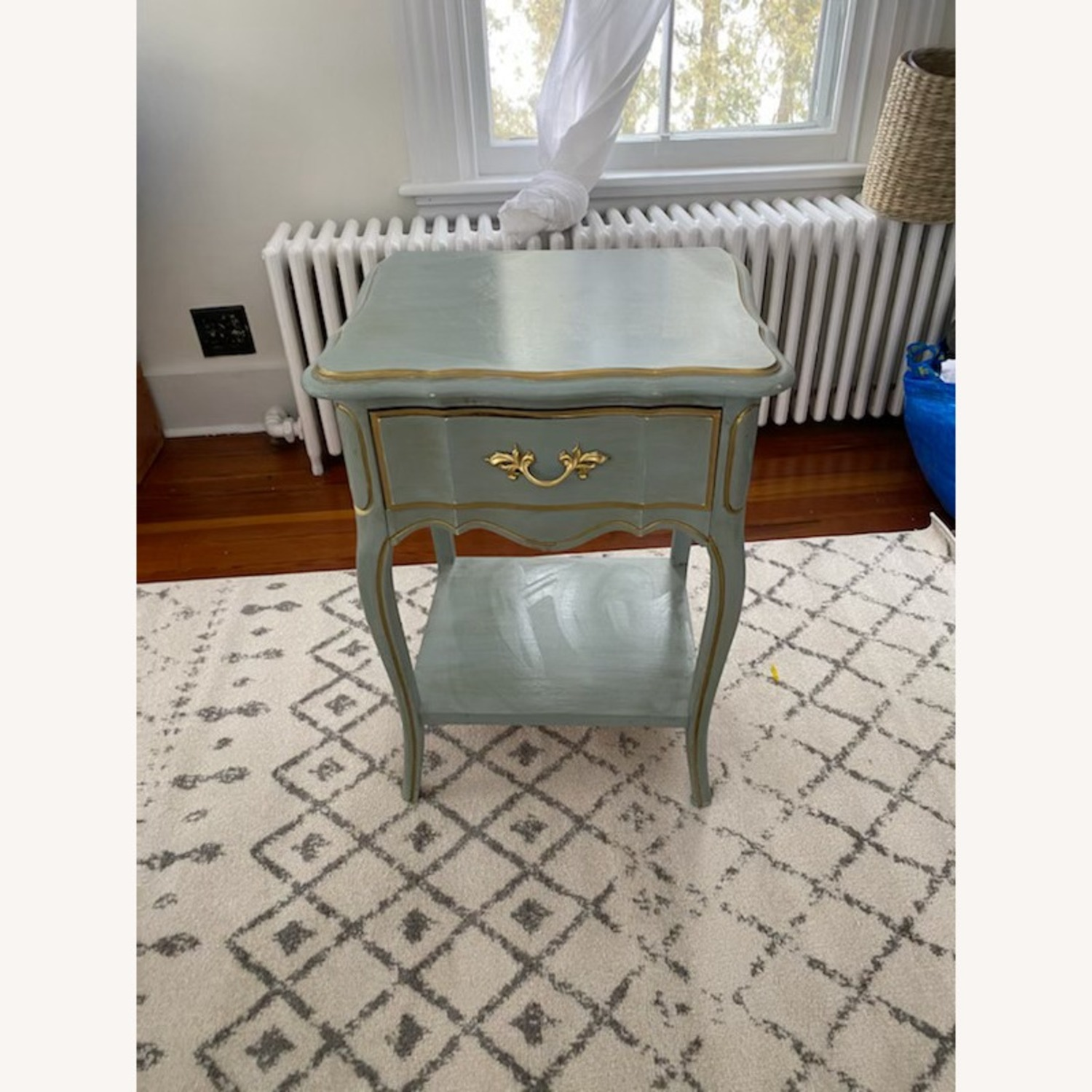 Vintage Blue Nightstand/table with Gold Accents - image-3