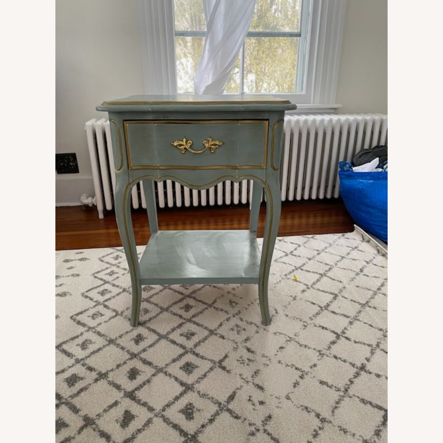 Vintage Blue Nightstand/table with Gold Accents - image-2