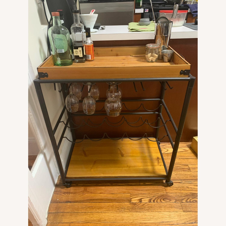 Wayfair Distressed Wood Bar/Serving Cart - image-1