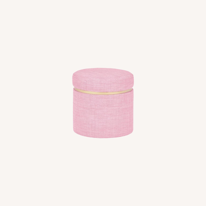Modern Pink Round Storage Ottoman with Gold  - image-0