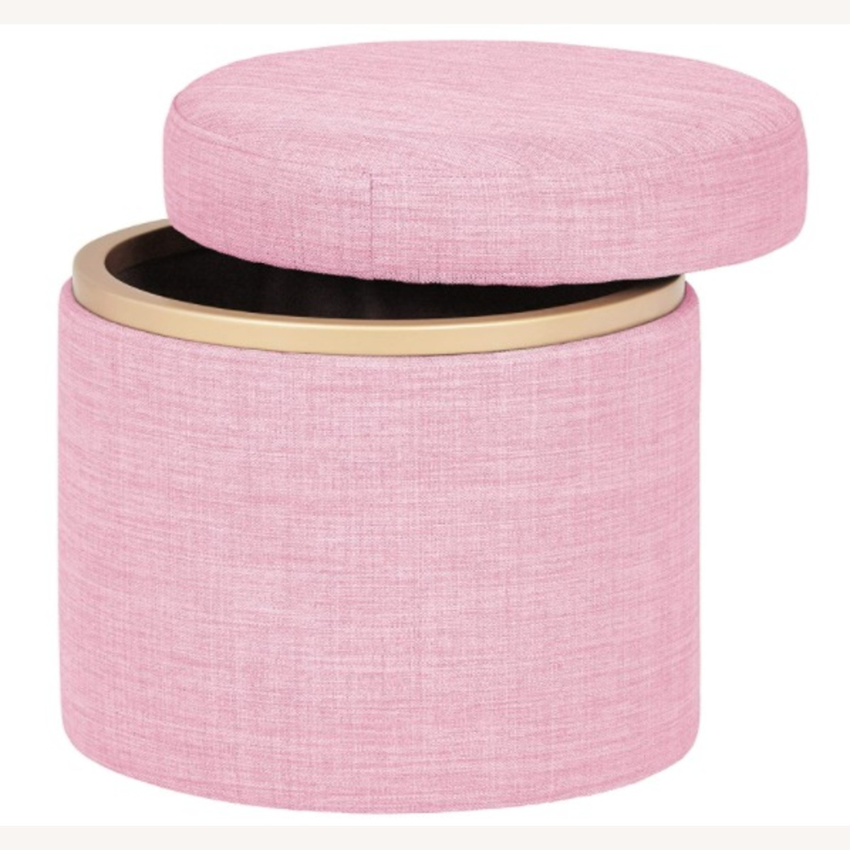 Modern Pink Round Storage Ottoman with Gold  - image-2