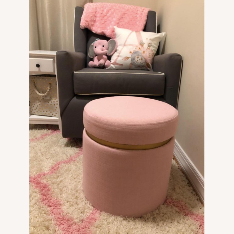 Modern Pink Round Storage Ottoman with Gold  - image-4