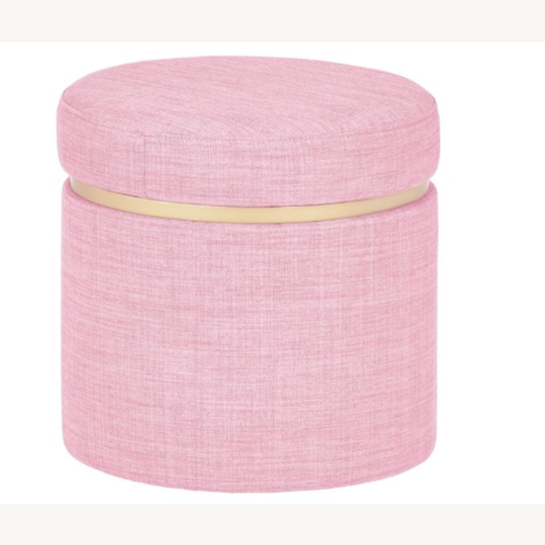Modern Pink Round Storage Ottoman with Gold  - image-1