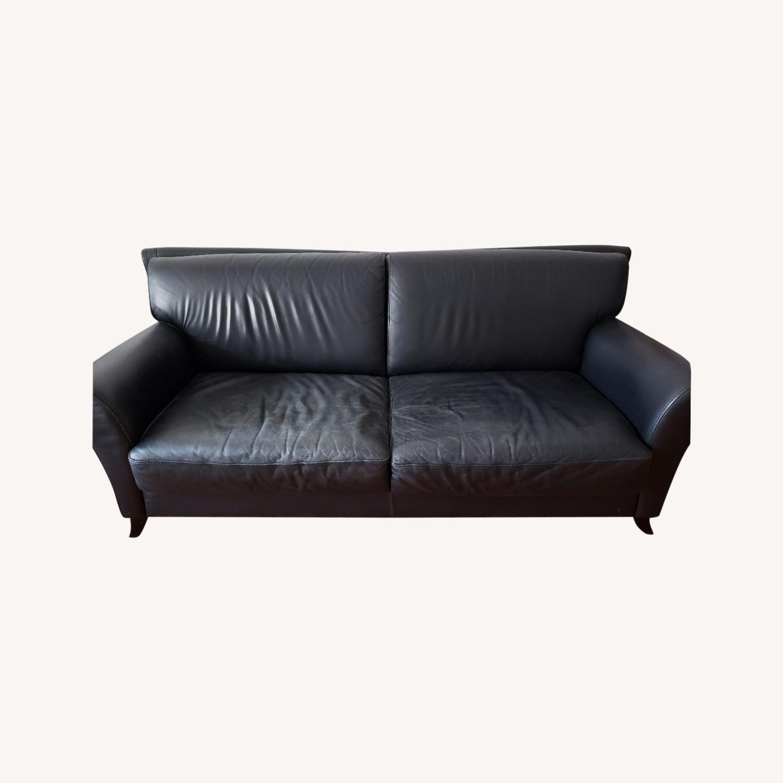 Black Leather 2 Seater Sofa - image-0