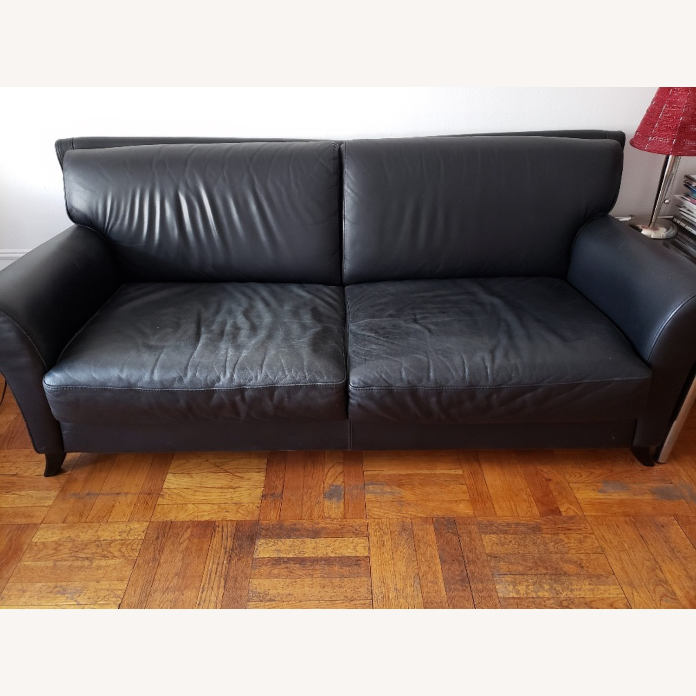 Black Leather 2 Seater Sofa - image-1