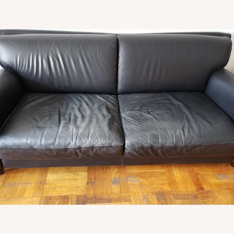 Black Leather 2 Seater Sofa - image-6