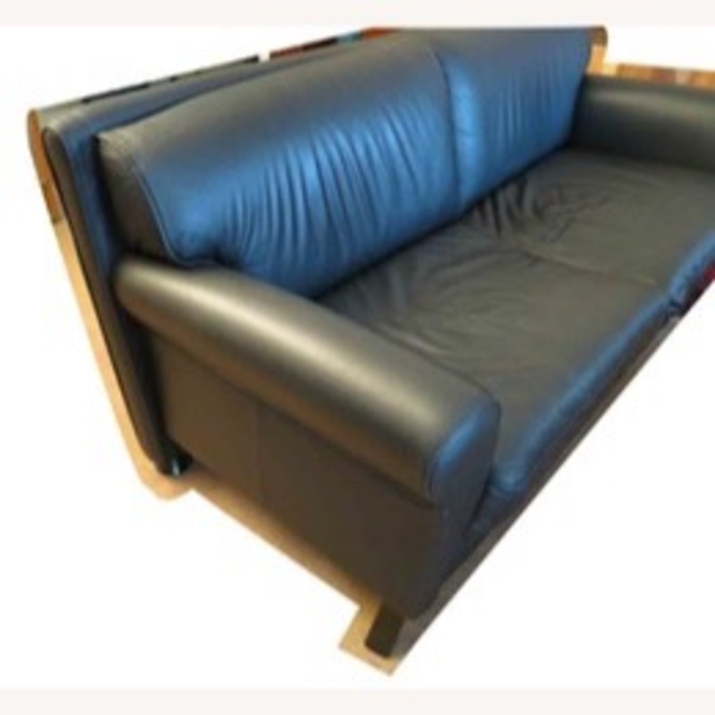 Black Leather 2 Seater Sofa - image-8