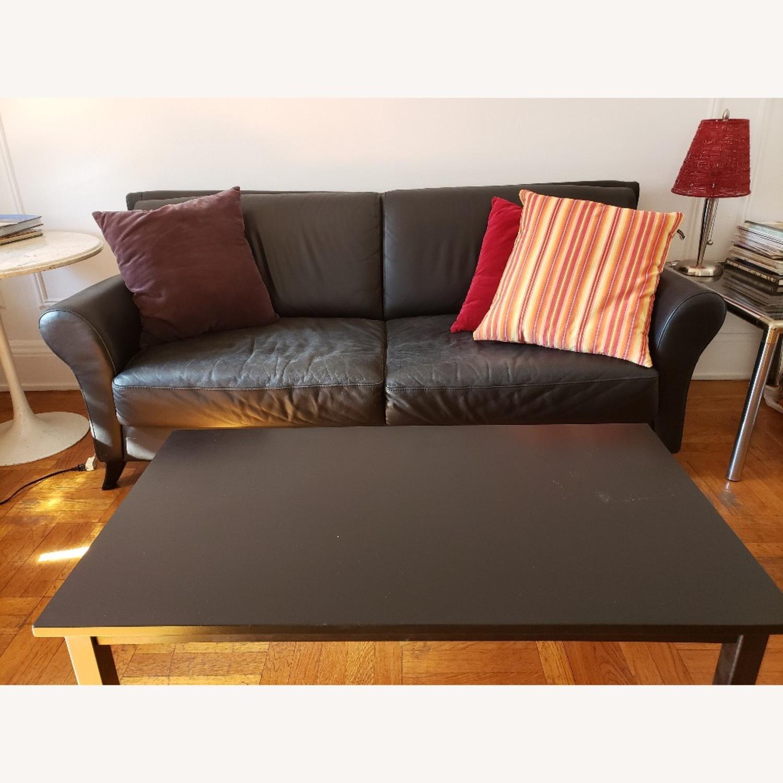 Black Leather 2 Seater Sofa - image-5