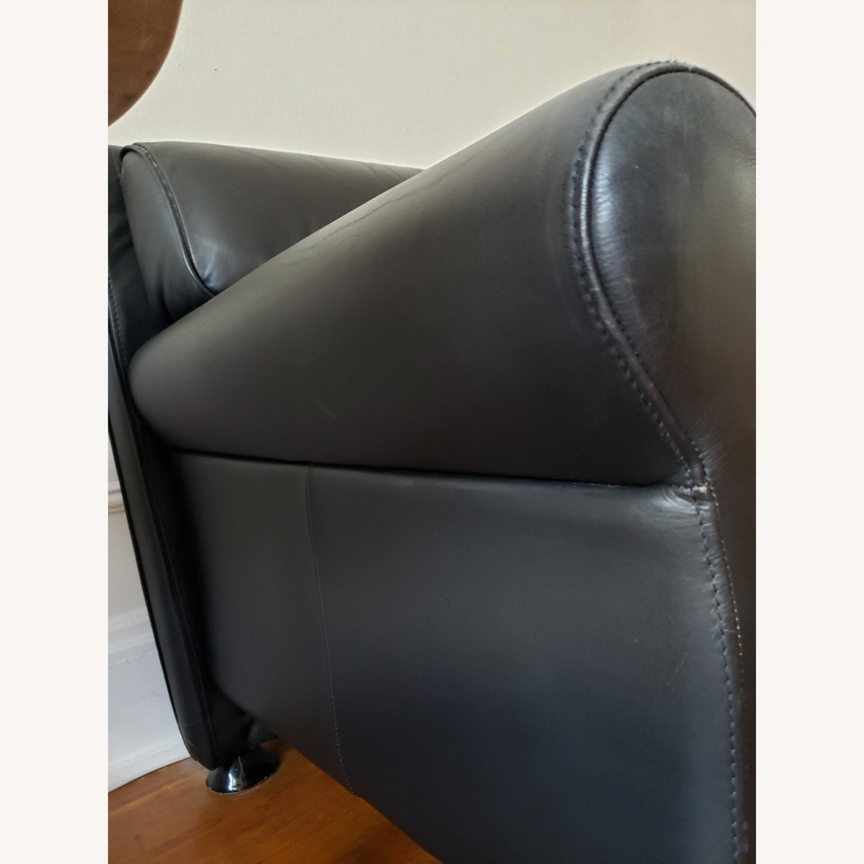Black Leather 2 Seater Sofa - image-2