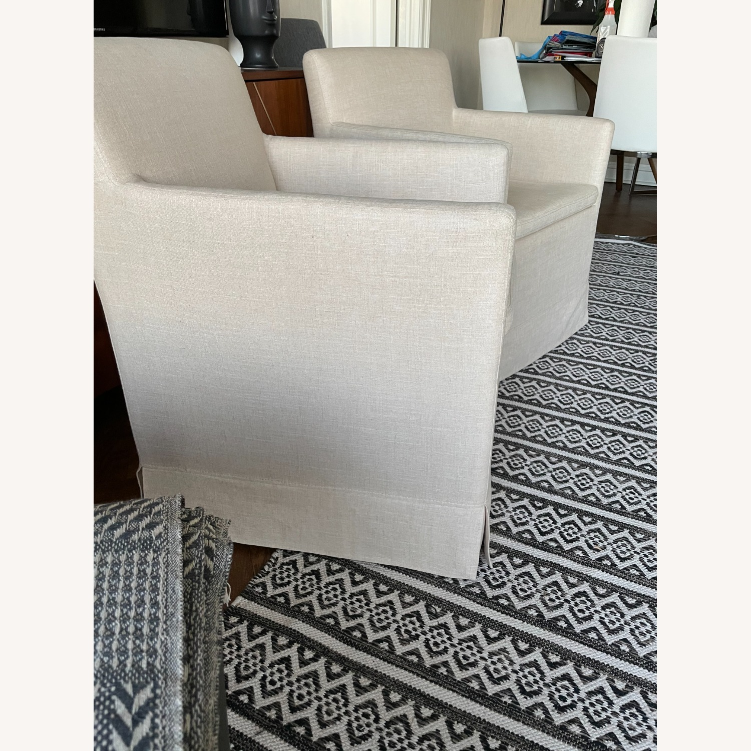 Pair of Linen Colored Fabric Chairs - image-4