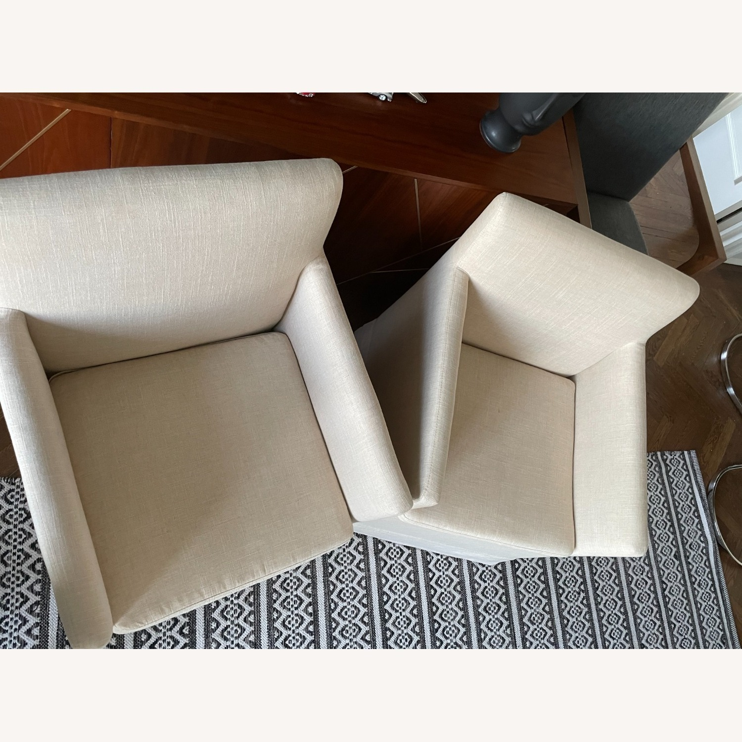 Pair of Linen Colored Fabric Chairs - image-2