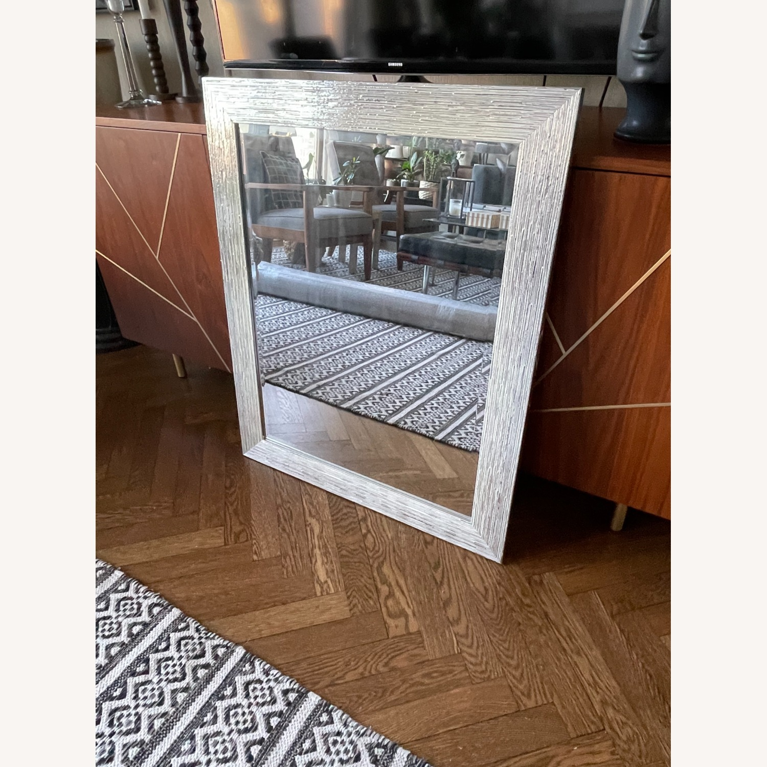 Silver Mosaic Style Mirror - image-1