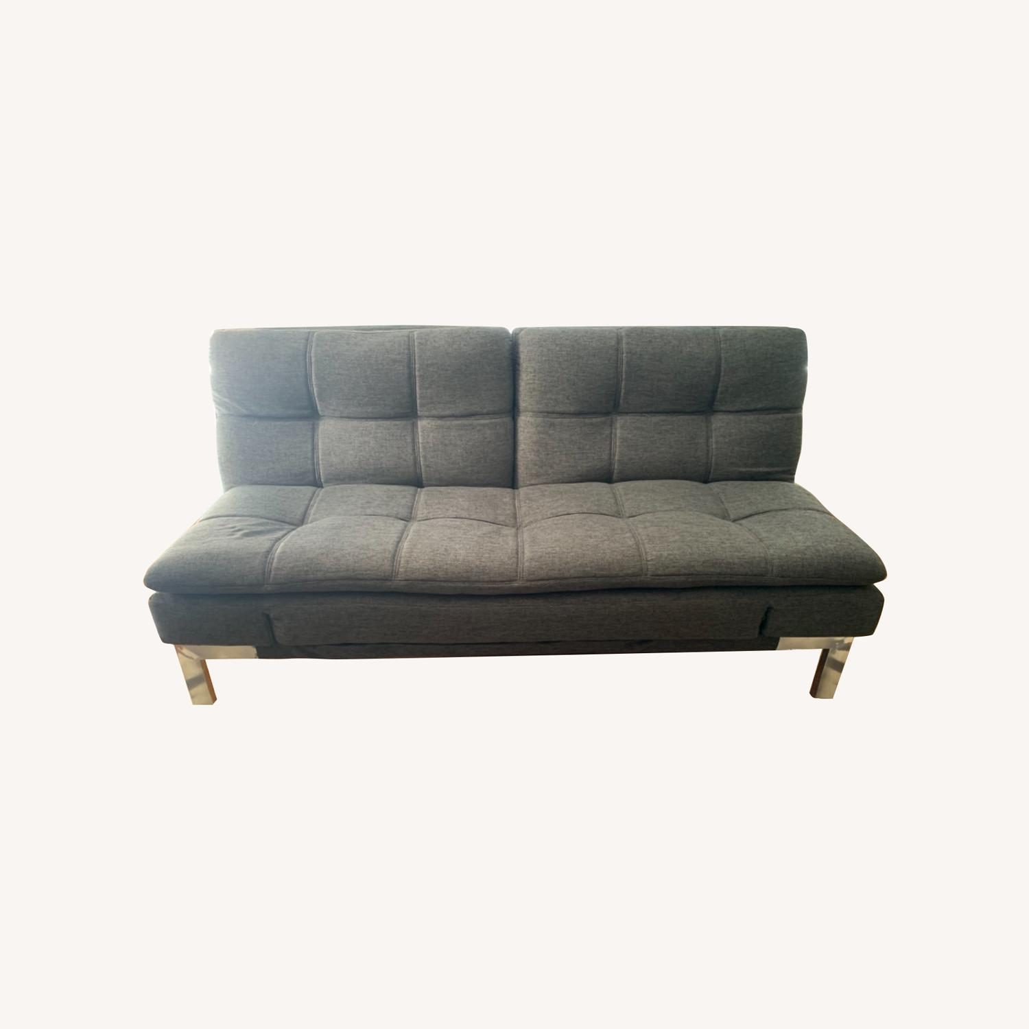 Slate gray futon with Serta Mattress Top - image-0
