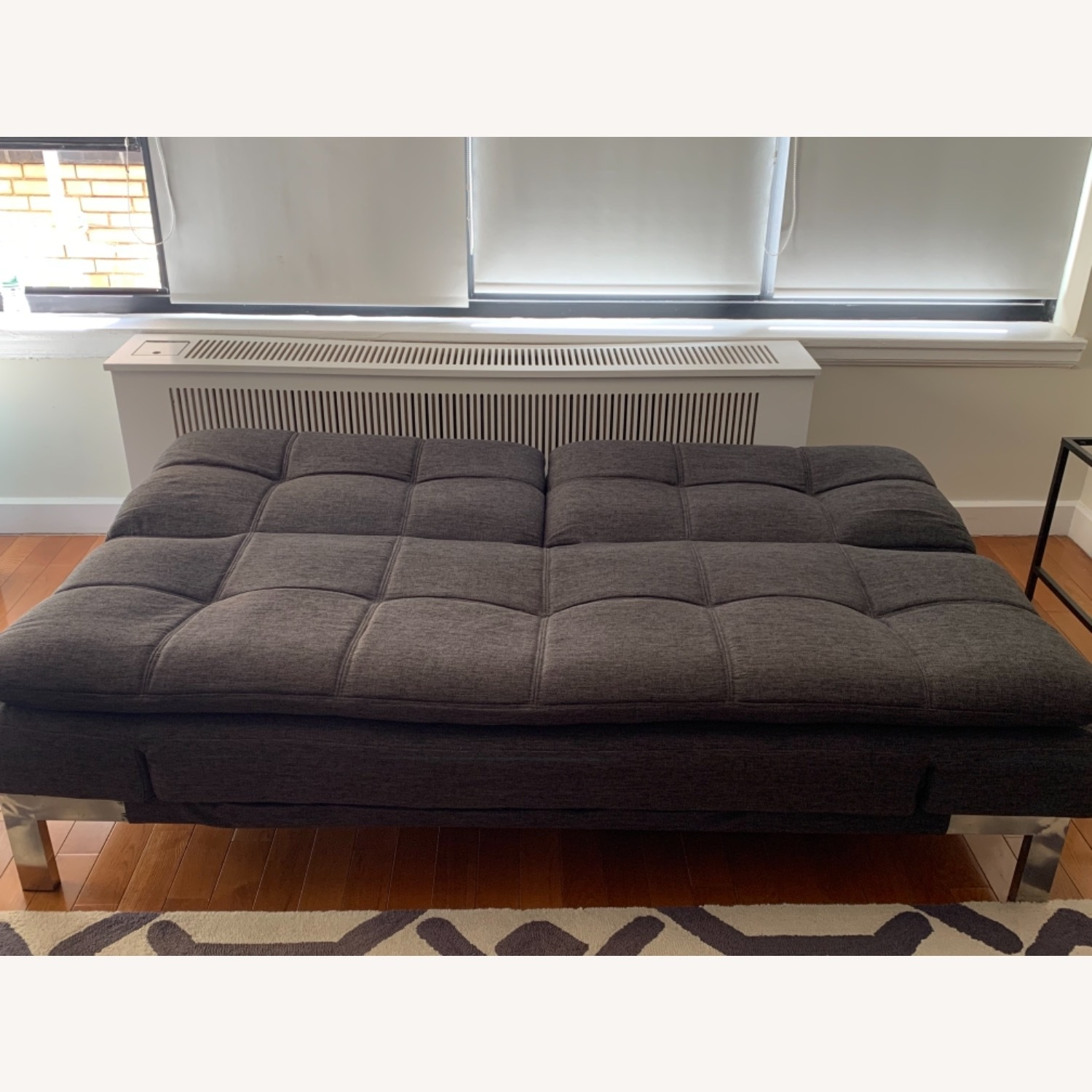 Slate gray futon with Serta Mattress Top - image-4