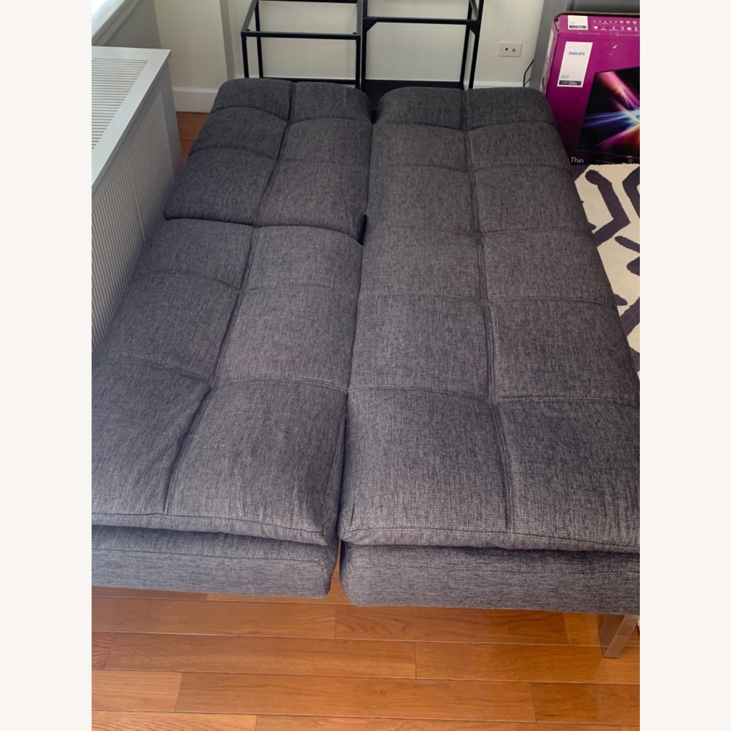Slate gray futon with Serta Mattress Top - image-3