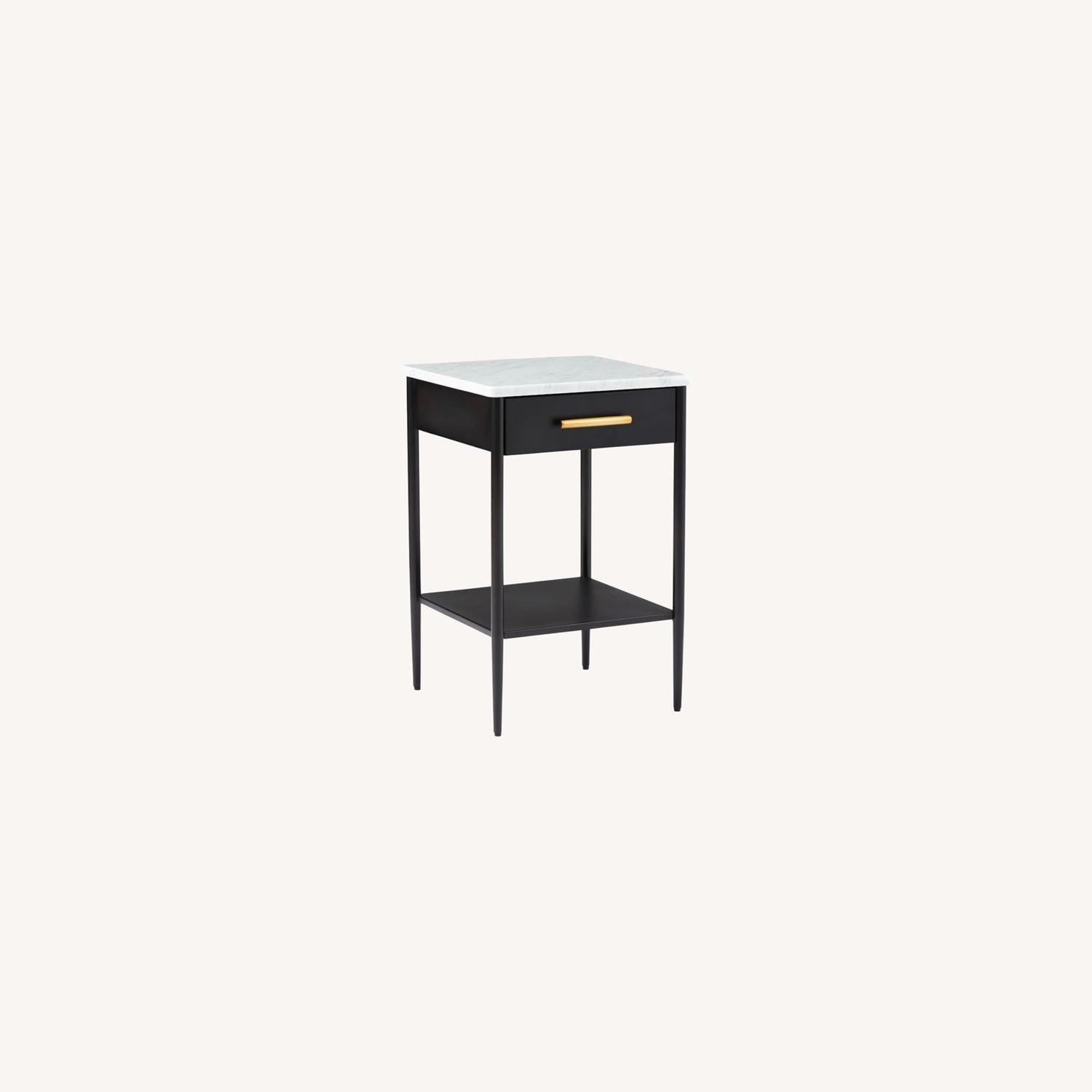 West Elm Metalwork Nightstand Marble Top - image-0
