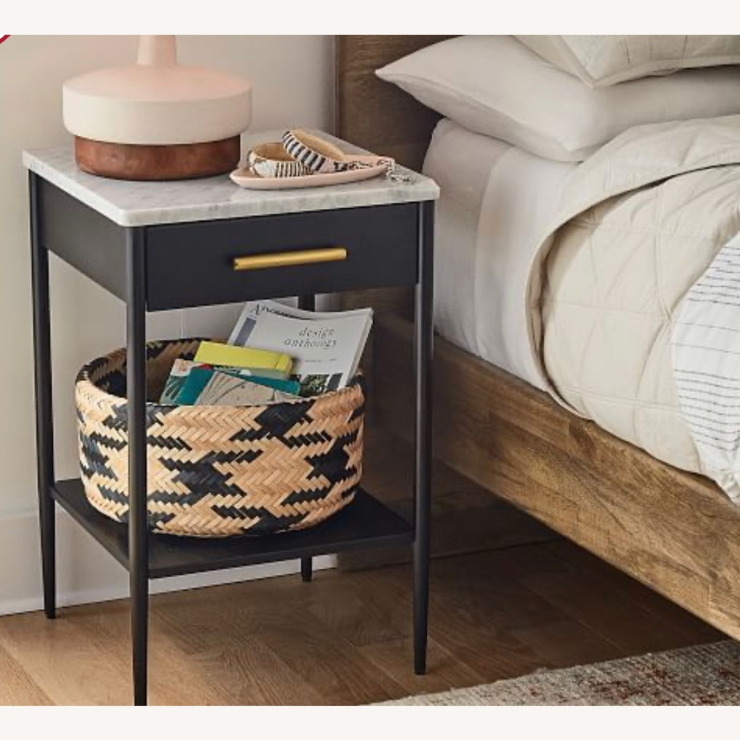 West Elm Metalwork Nightstand Marble Top - image-2