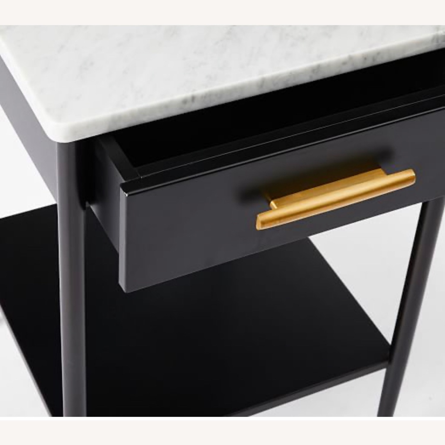 West Elm Metalwork Nightstand Marble Top - image-3