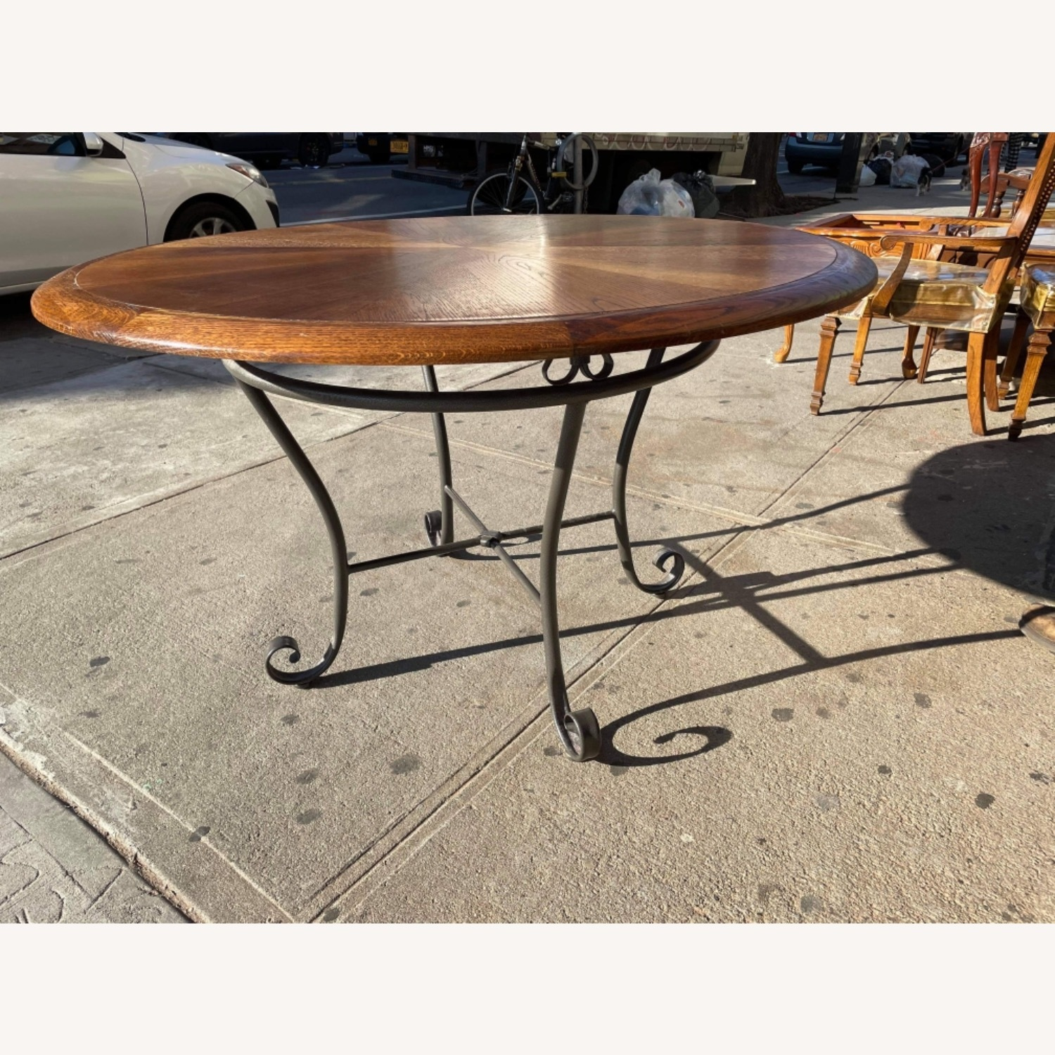 Vintage 1970s Wood & Metal Round Table - image-4