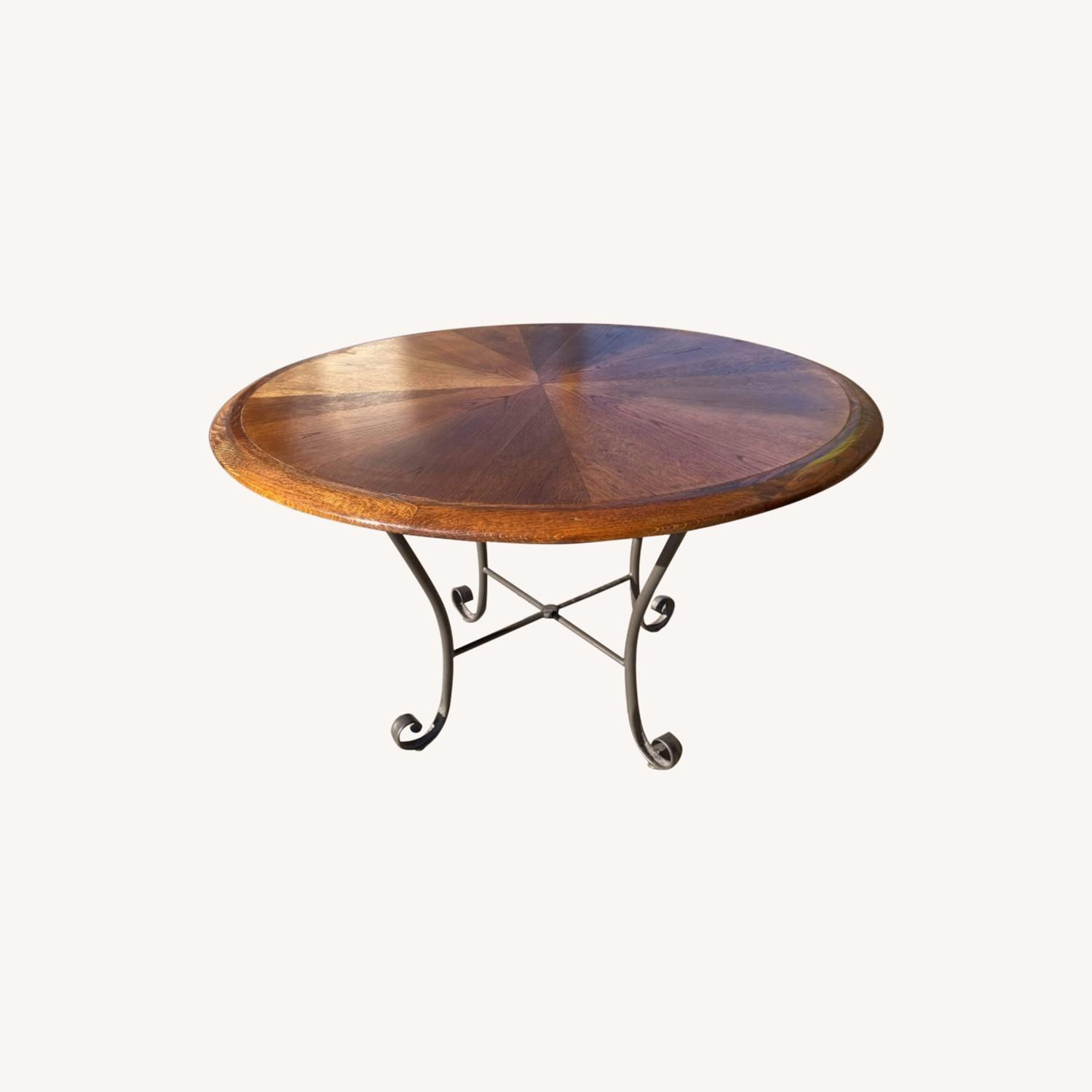 Vintage 1970s Wood & Metal Round Table - image-0