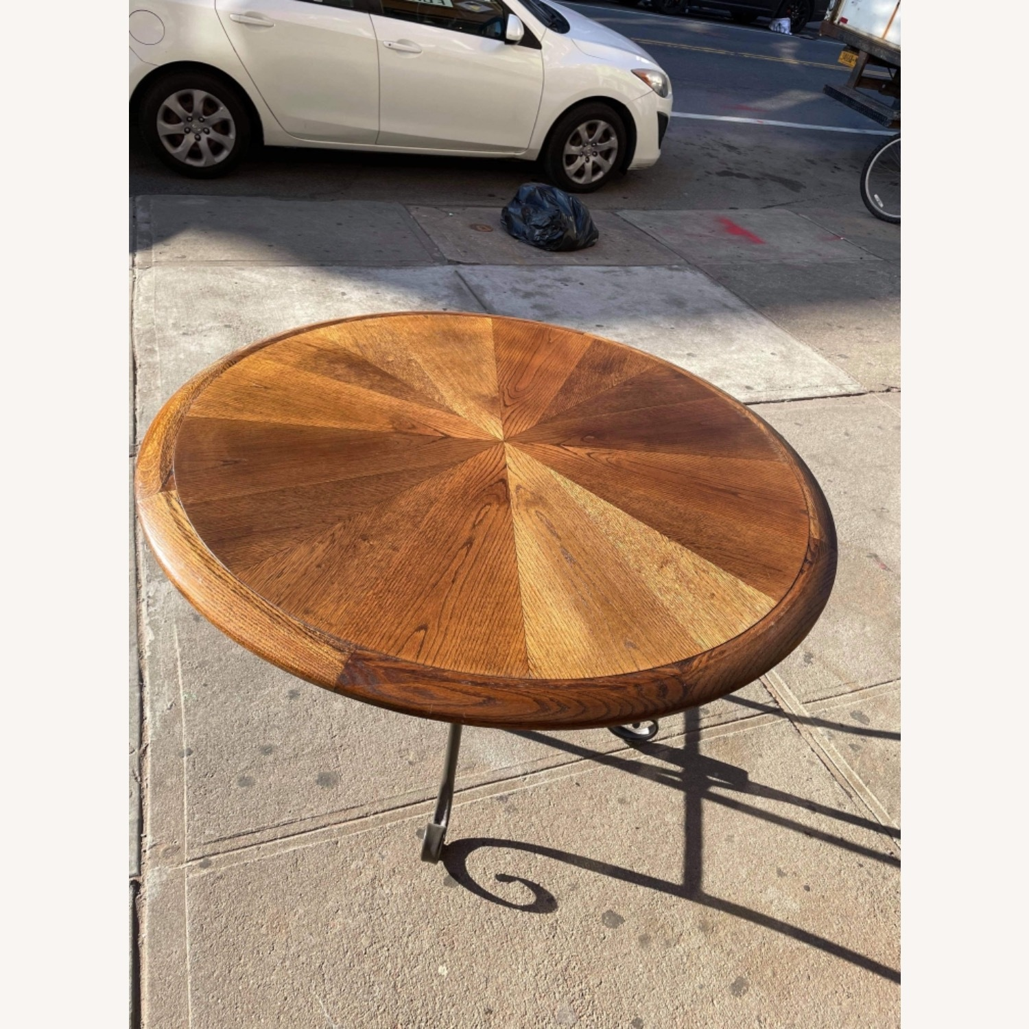 Vintage 1970s Wood & Metal Round Table - image-7