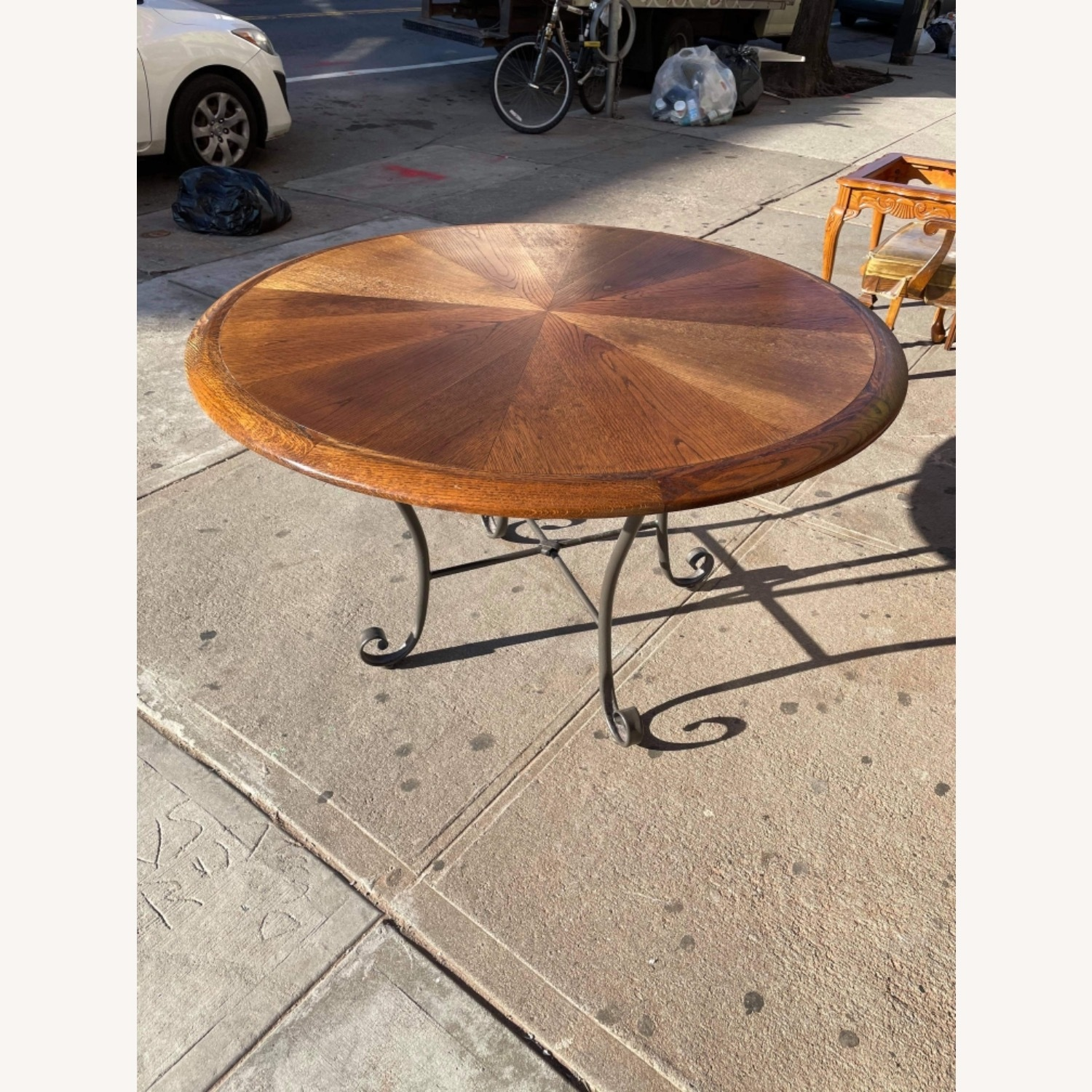 Vintage 1970s Wood & Metal Round Table - image-5