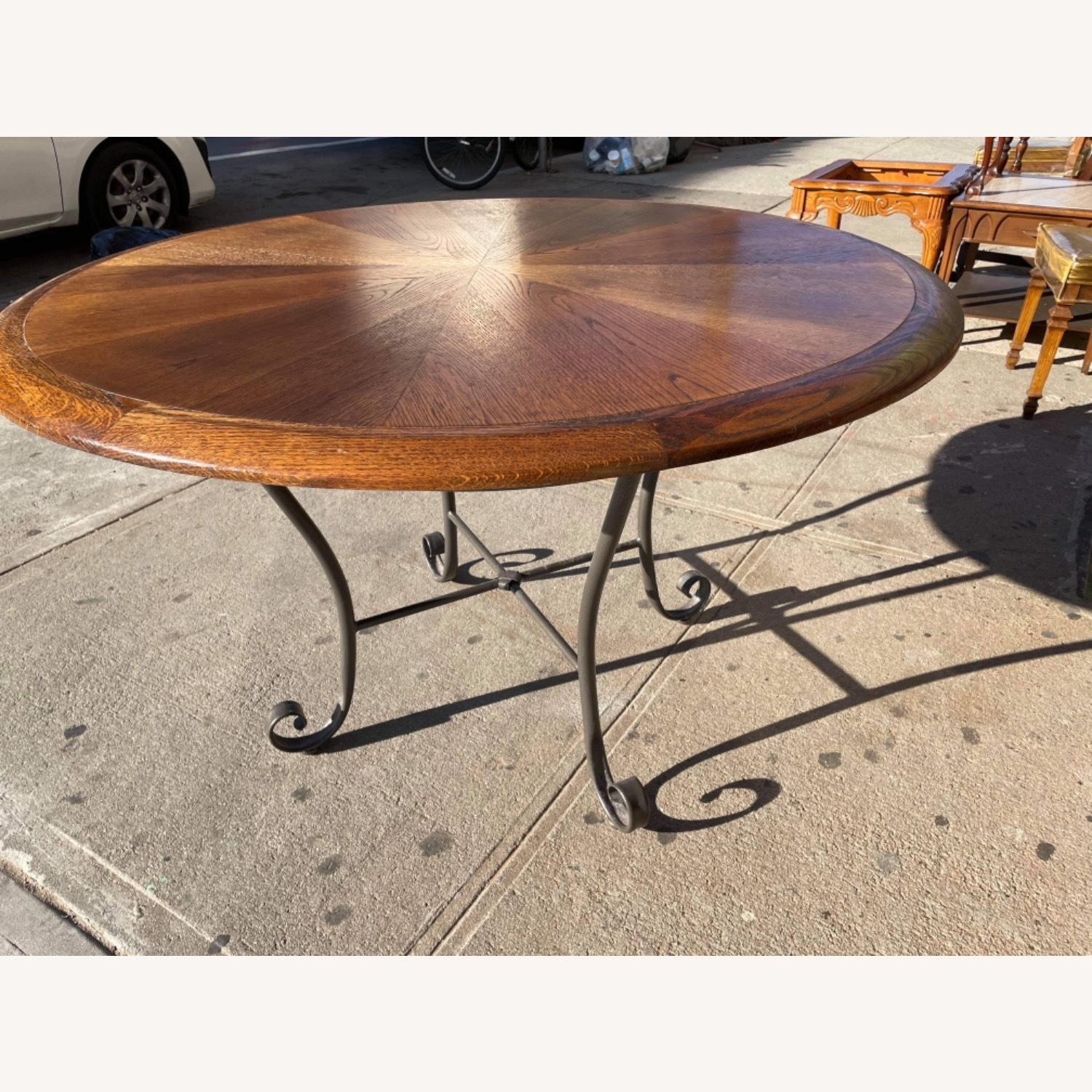 Vintage 1970s Wood & Metal Round Table - image-9