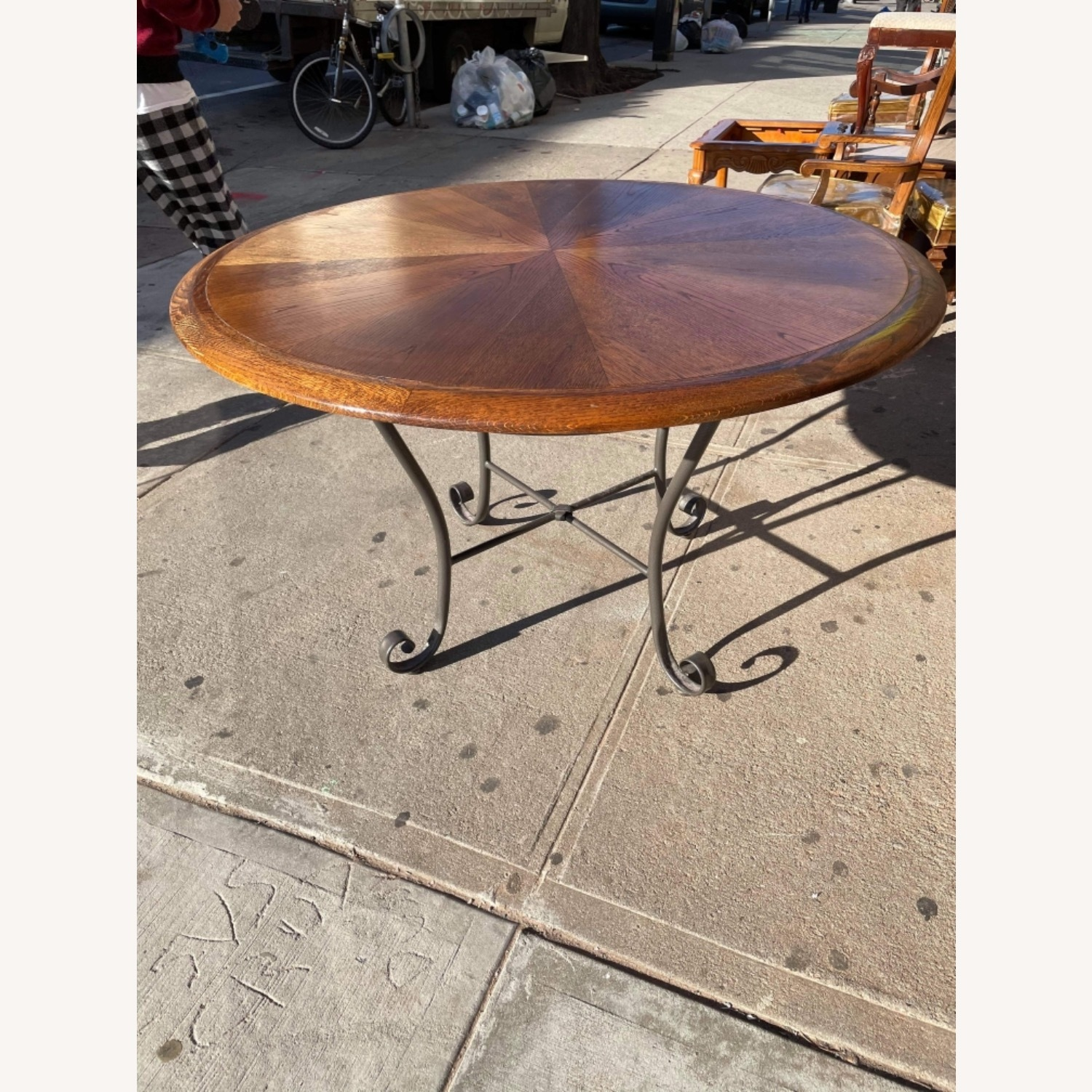 Vintage 1970s Wood & Metal Round Table - image-1