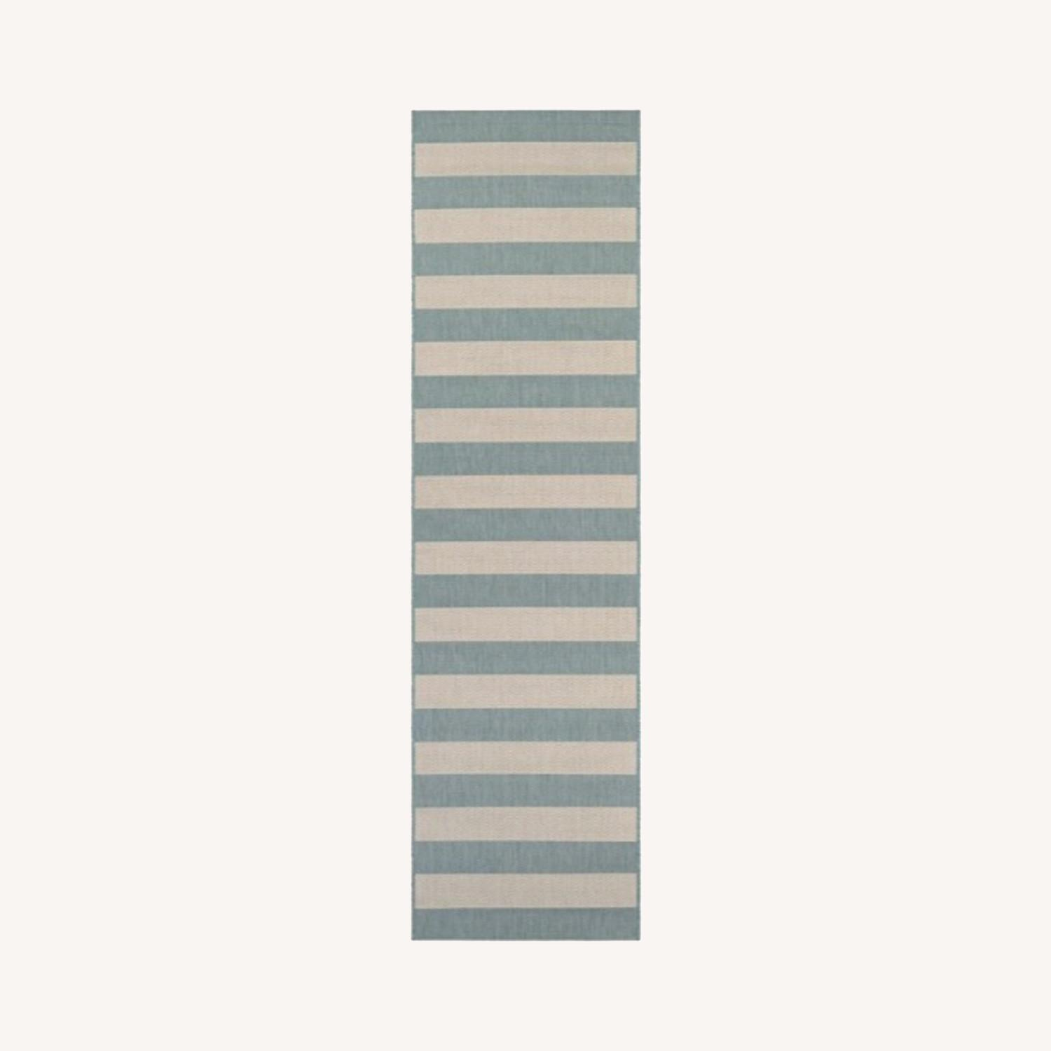 Blue and White Striped 7-Foot Runner Rug - image-0
