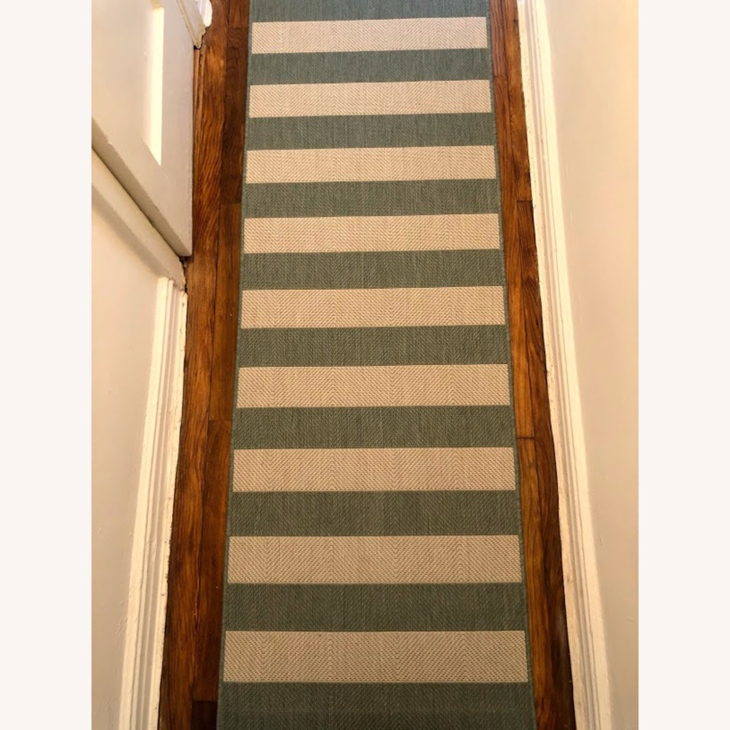 Blue and White Striped 7-Foot Runner Rug - image-3