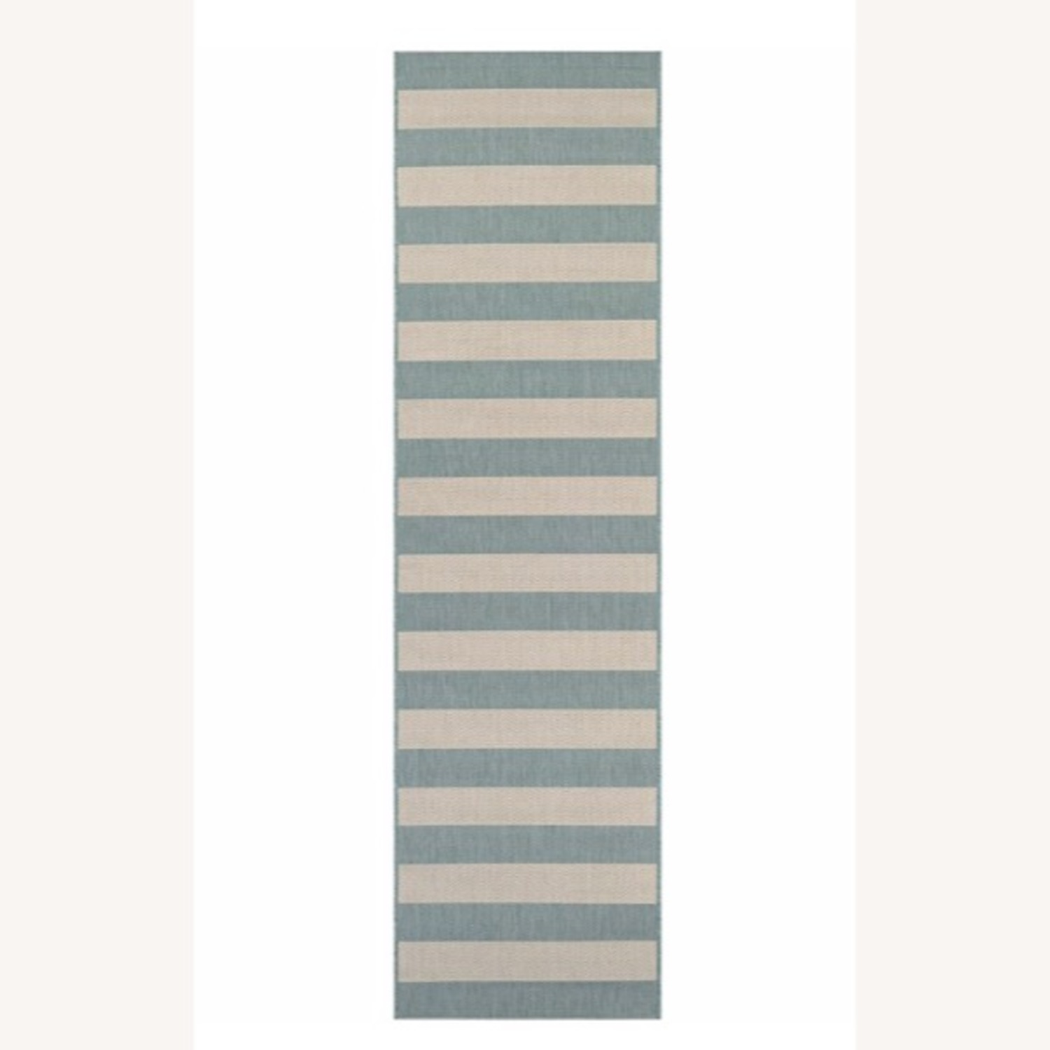Blue and White Striped 7-Foot Runner Rug - image-1