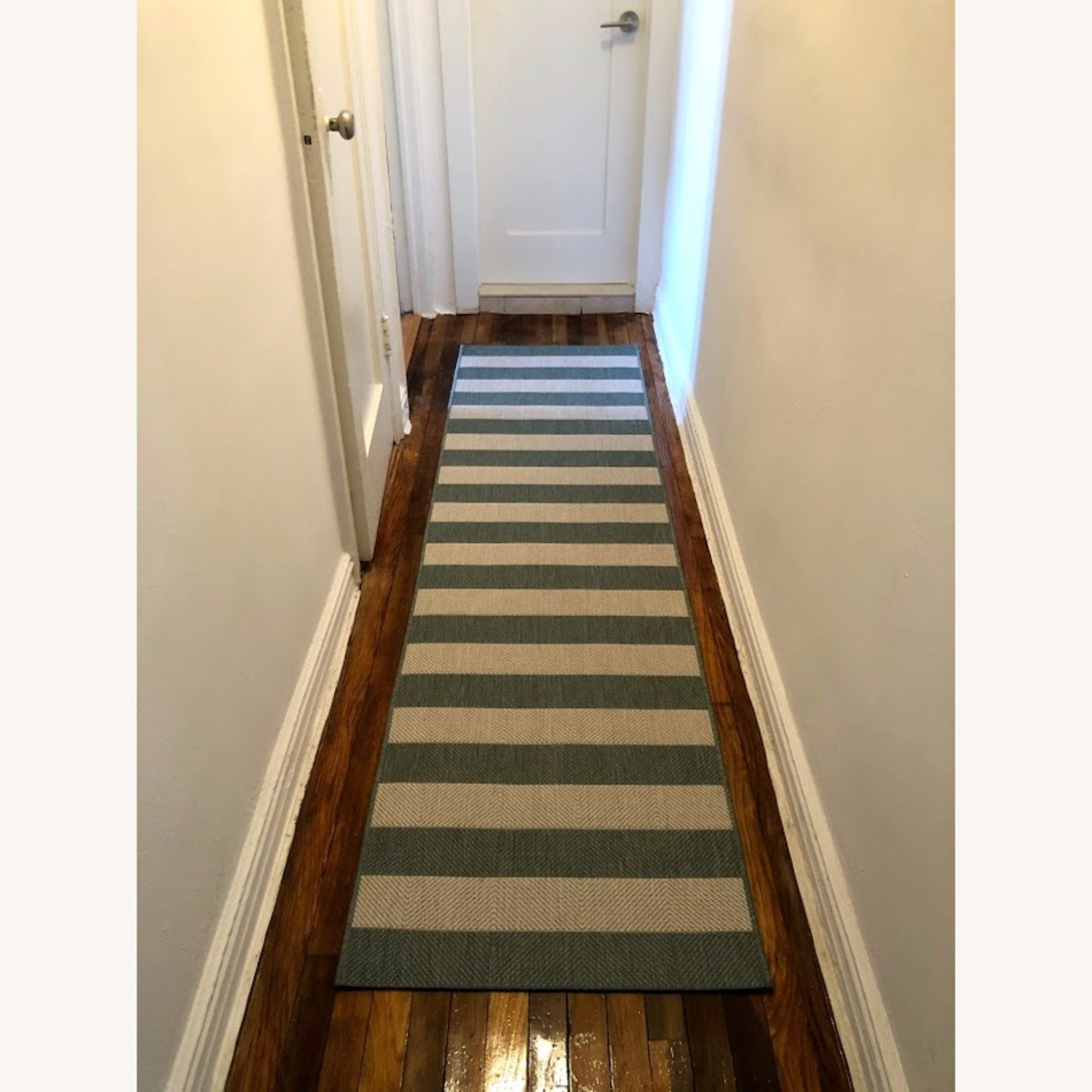 Blue and White Striped 7-Foot Runner Rug - image-2