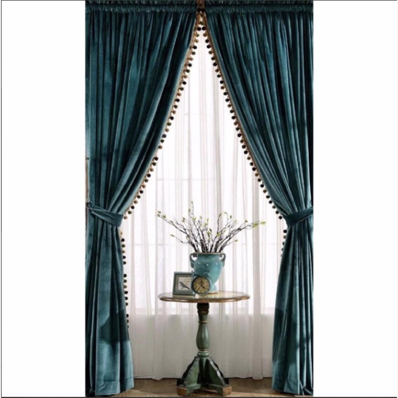 Velvet Teal Antique Pom Black Out Curtains - image-1