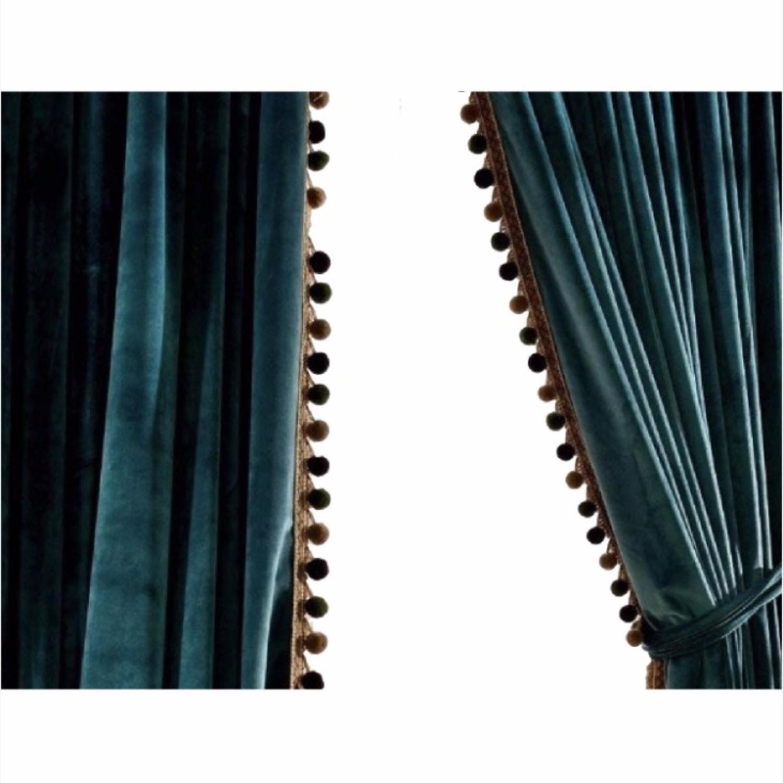 Velvet Teal Antique Pom Black Out Curtains - image-2