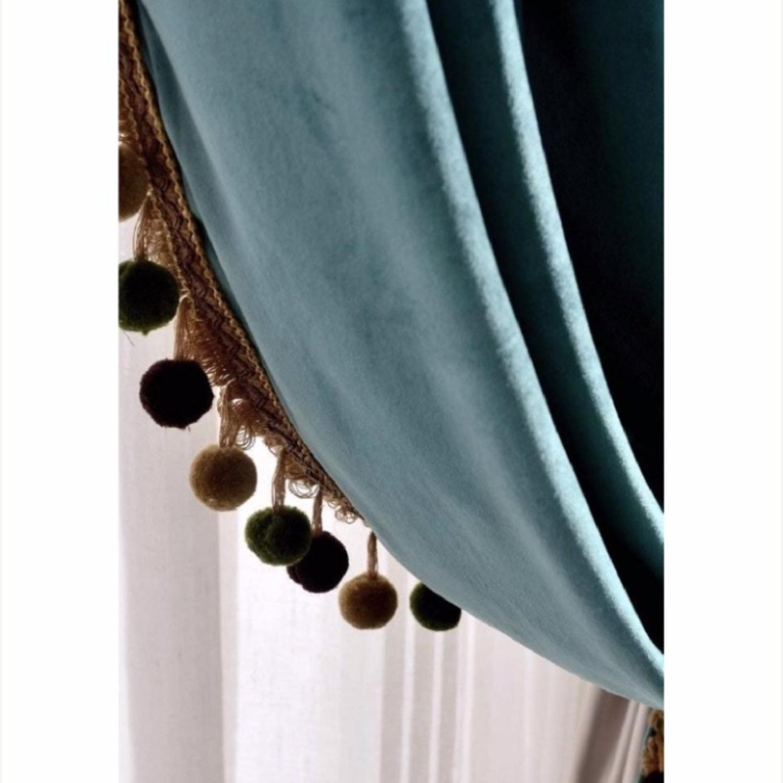 Velvet Teal Antique Pom Black Out Curtains - image-3