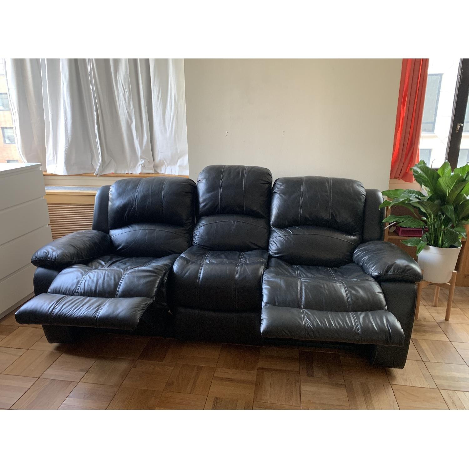 Raymour & Flanigan Leather Reclining 3-Seater - image-5