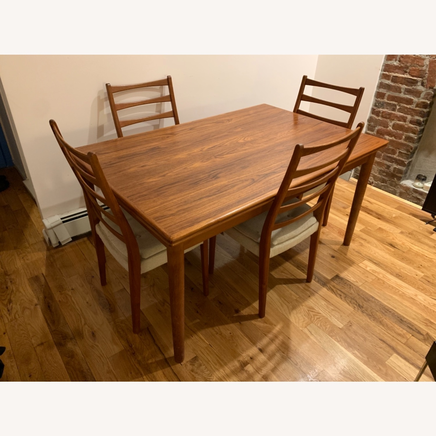 Mid Century Extendable Dining Table w/Four Chairs - image-1