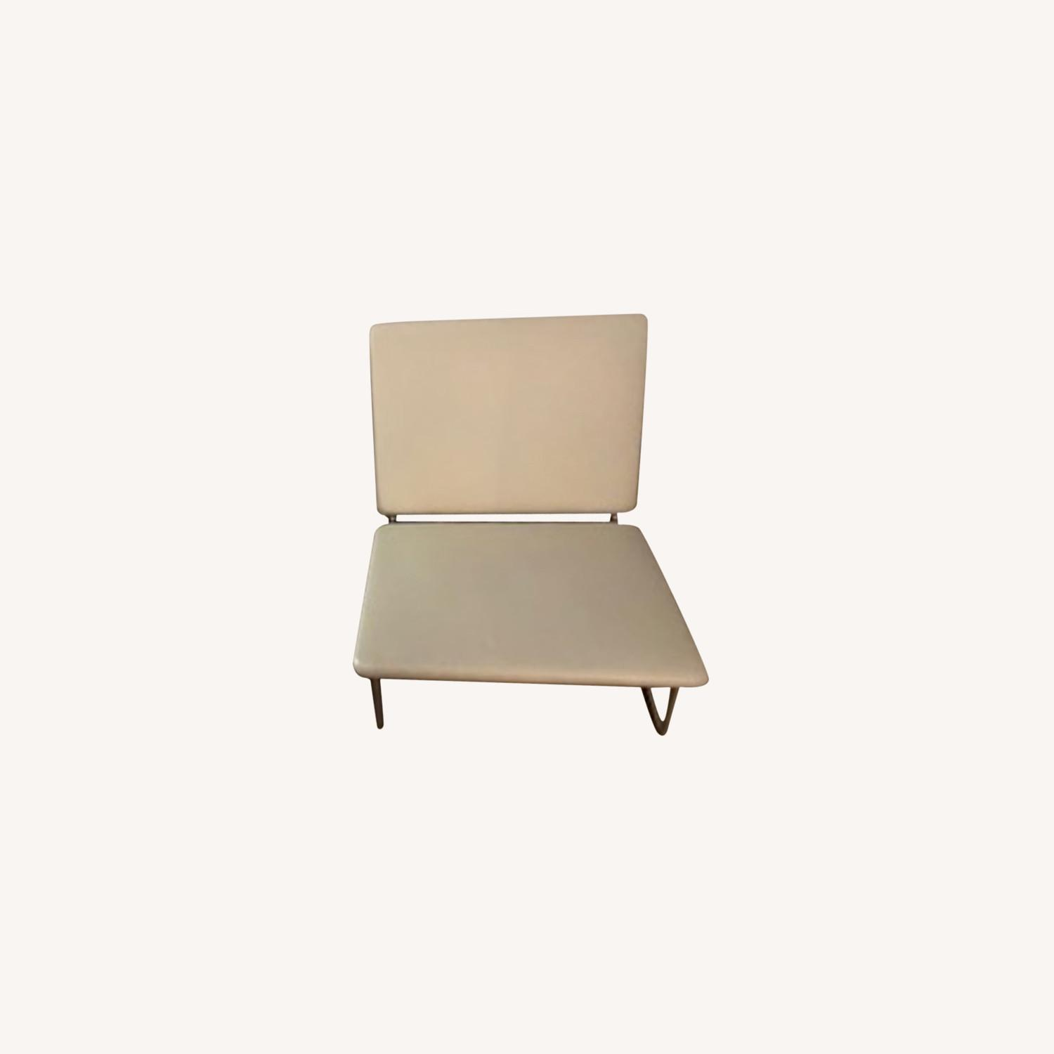 Midcentury Modern White Leather Lounge Chairs - image-0