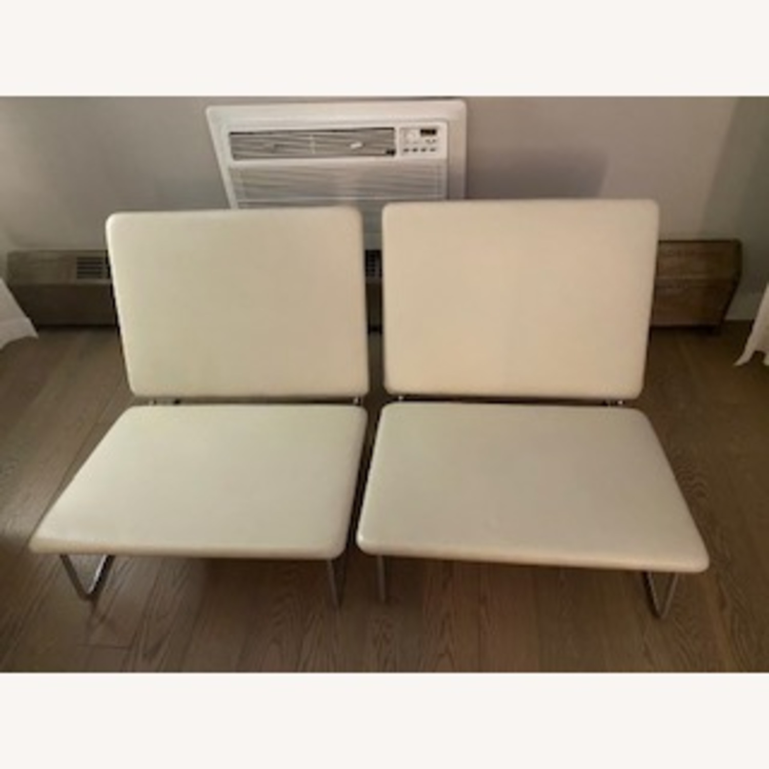 Midcentury Modern White Leather Lounge Chairs - image-1