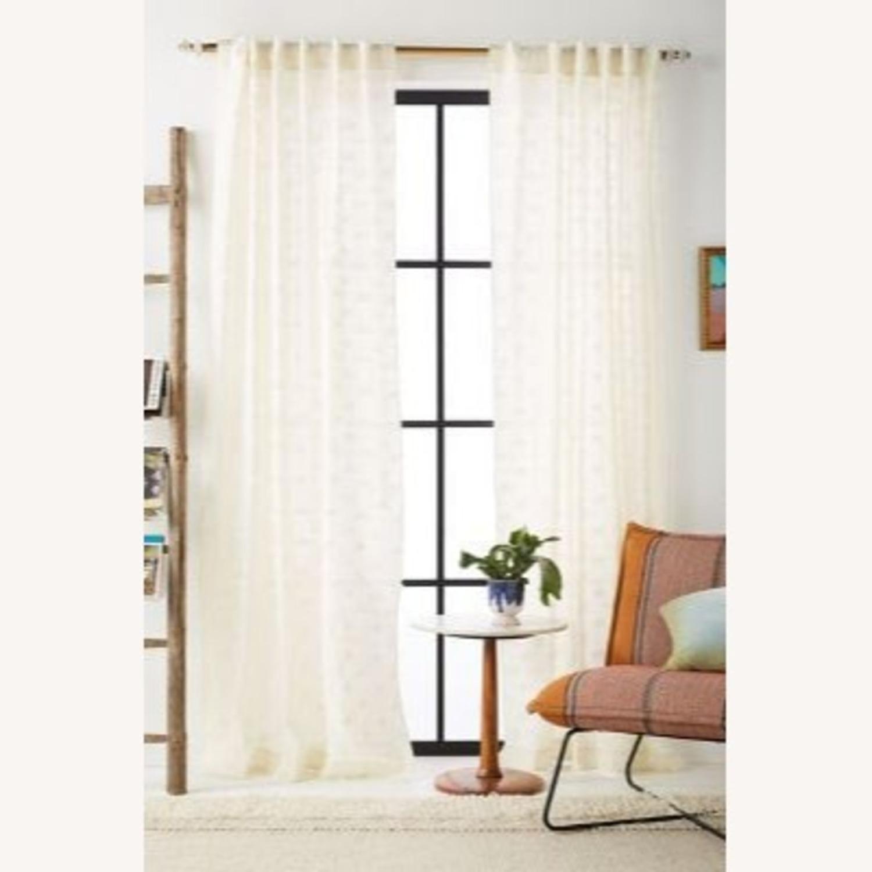 Anthropologie Ivory Nala Jaquard Curtains - image-1
