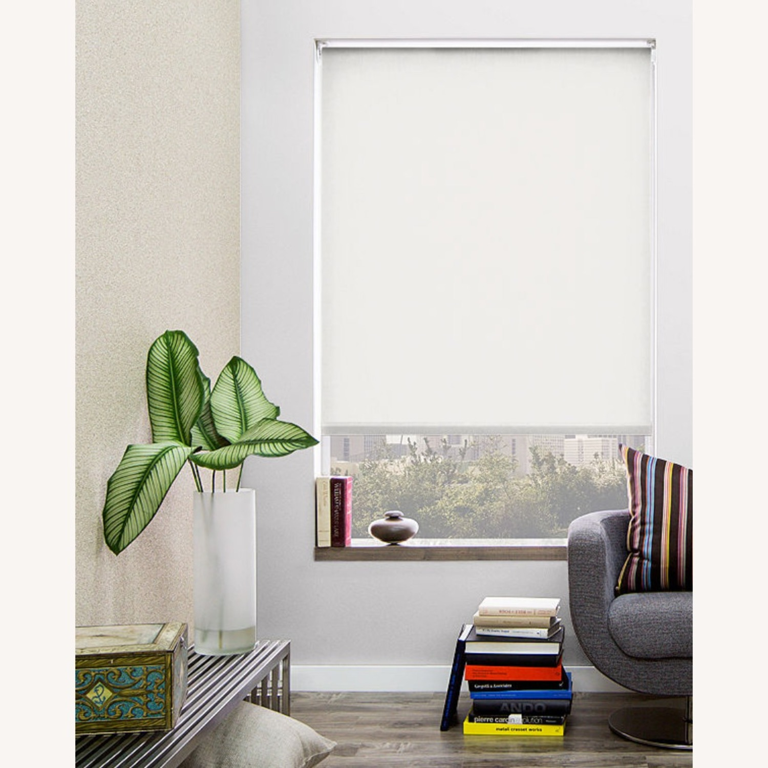 The Shade Store Roller Blackout Shade, Snow - image-1