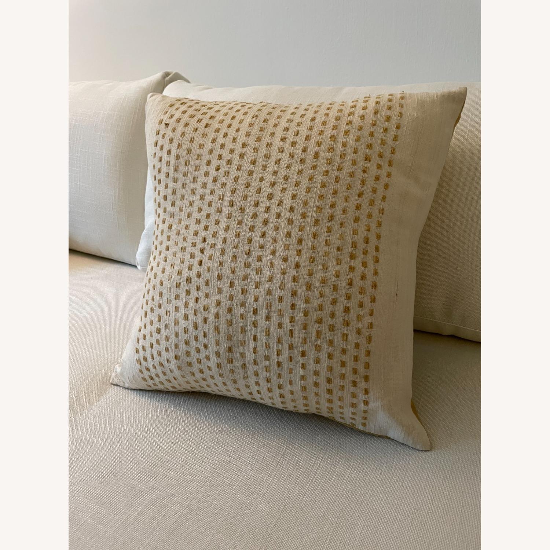 "West Elm Dot Linen Pillow Cover 18""x18"" - image-1"