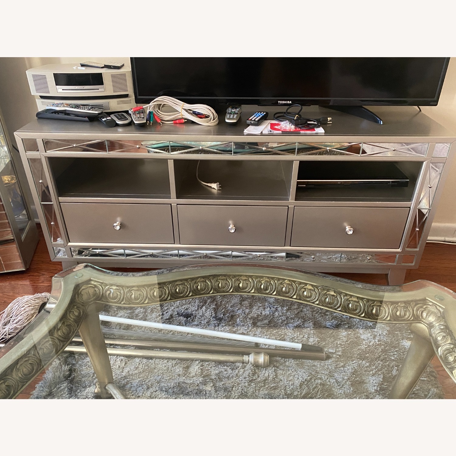 Bob's Discount Mirrored Media Storage/TV Stand - image-3