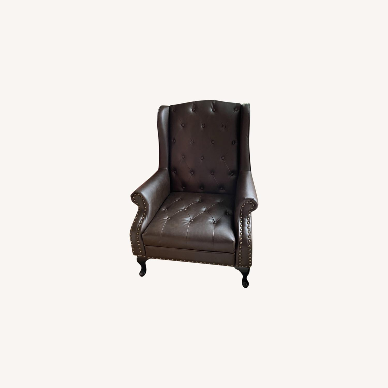 Wingback Tufted Nail Brown Leatherette Chair - image-0
