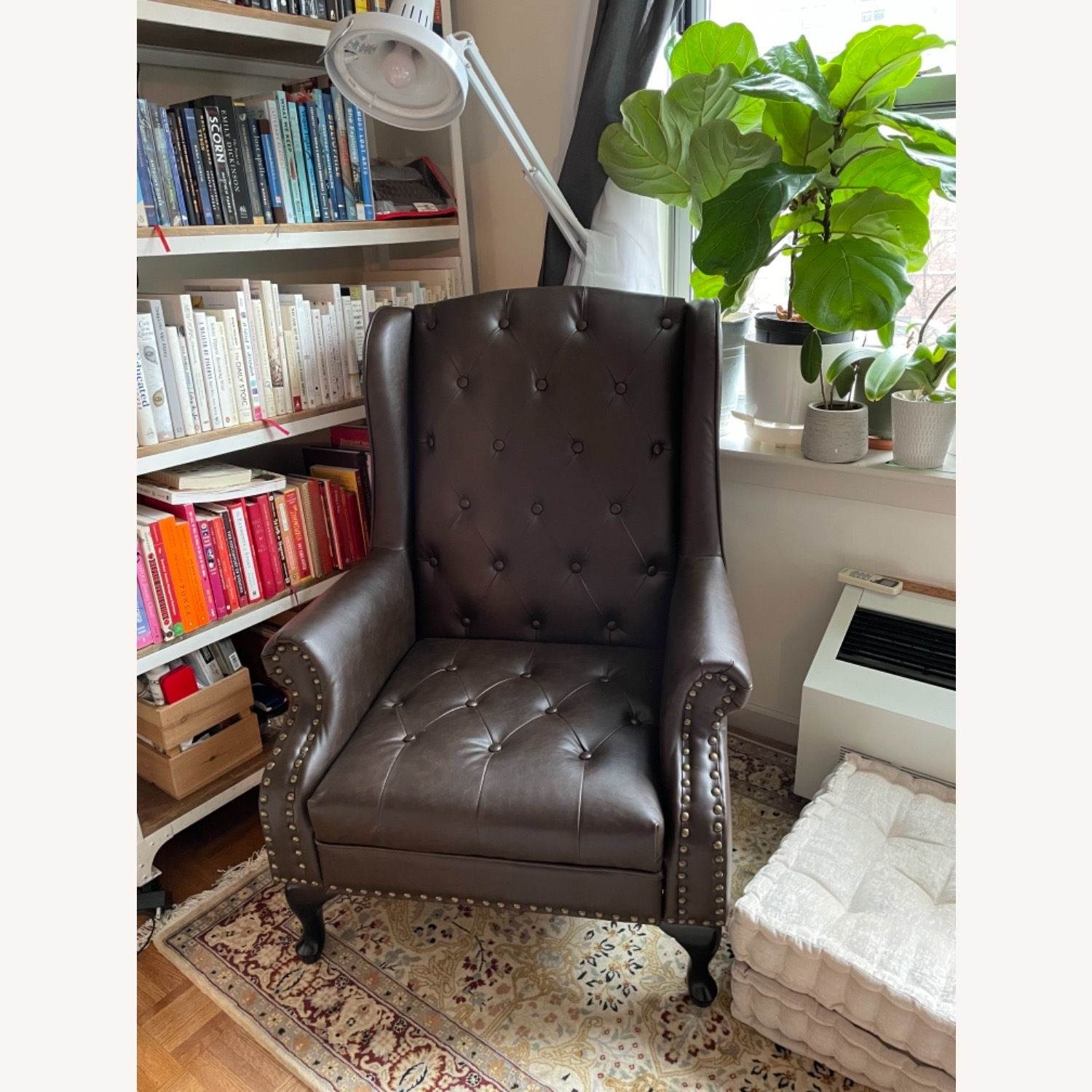 Wingback Tufted Nail Brown Leatherette Chair - image-2