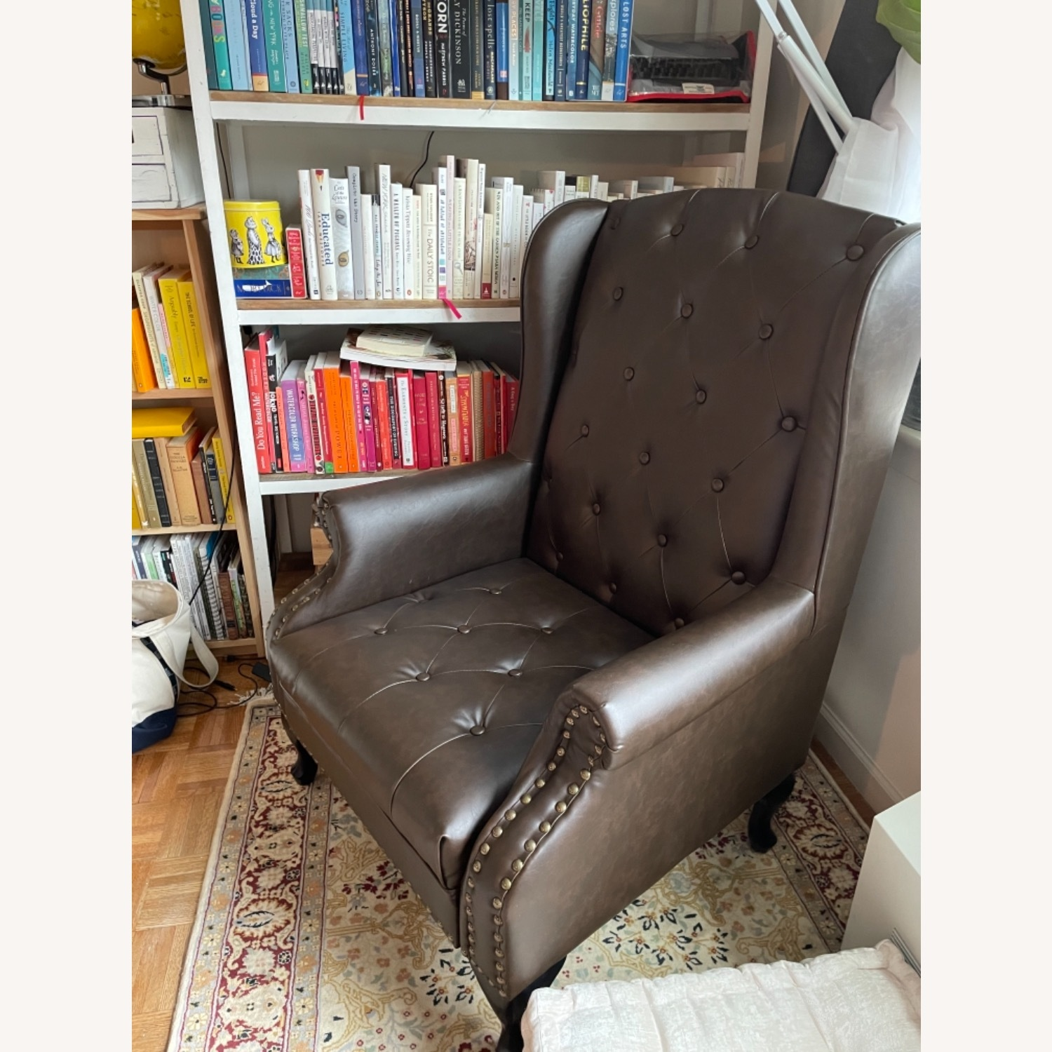 Wingback Tufted Nail Brown Leatherette Chair - image-3