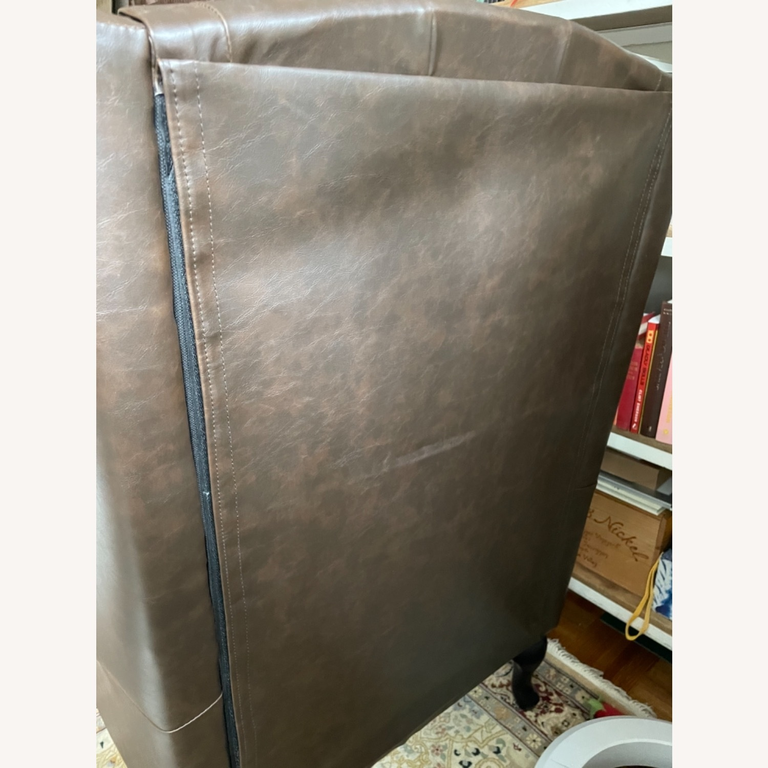 Wingback Tufted Nail Brown Leatherette Chair - image-4