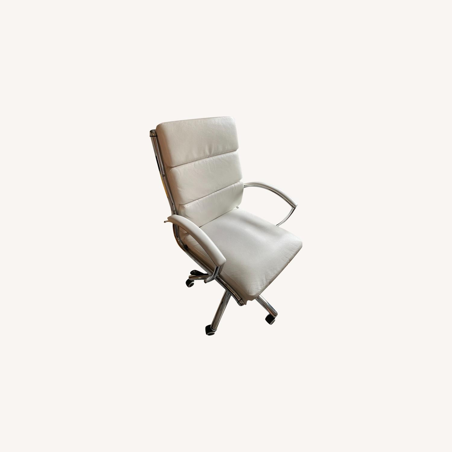 White Faux Leather and Chrome Frame Office Chair - image-0