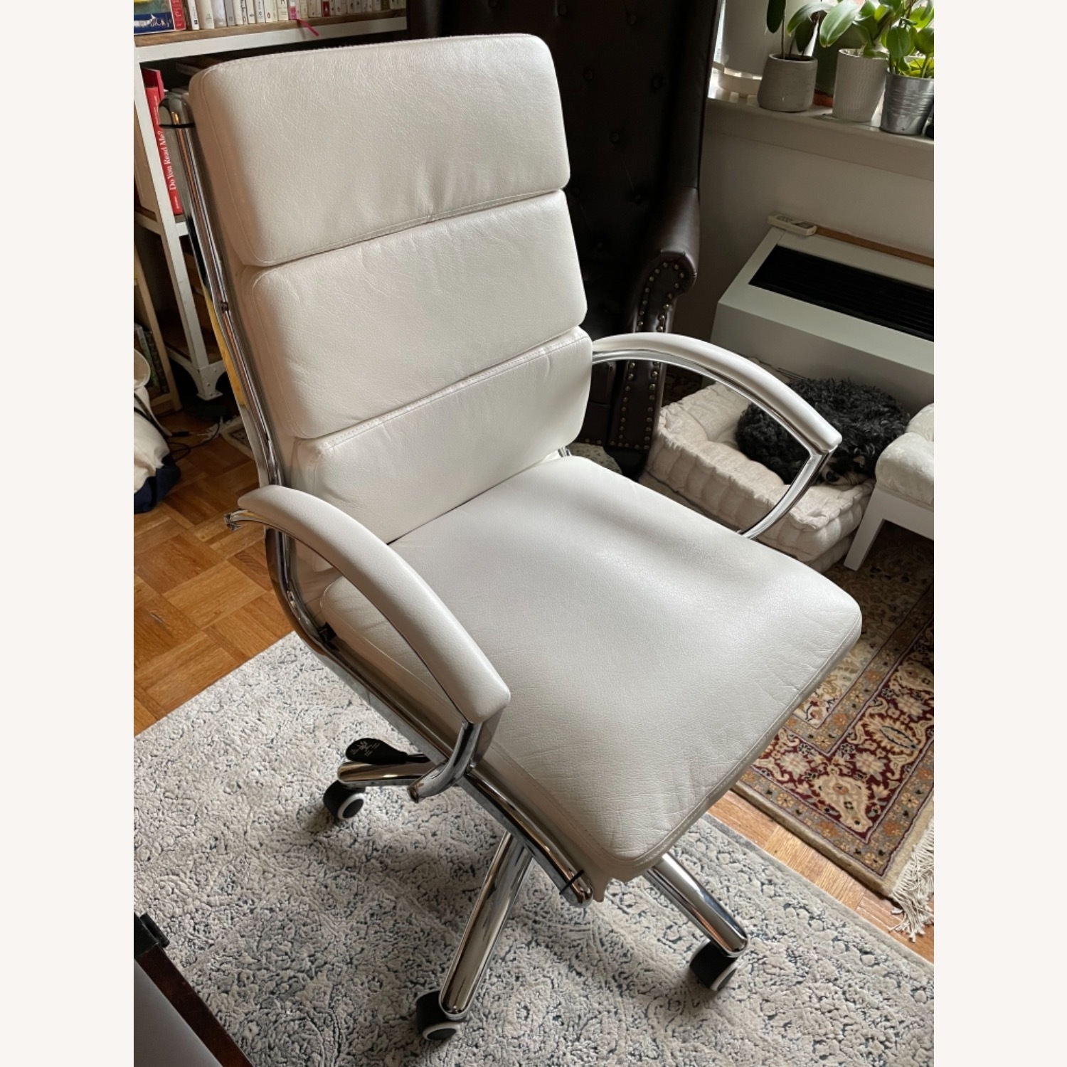 White Faux Leather and Chrome Frame Office Chair - image-1